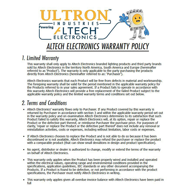Altech Electronics Warranty Policy