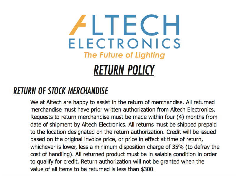 Altech Electronics Return Policy