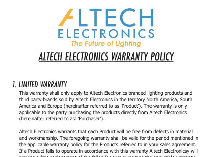 Altech Electronics Warranty Policy